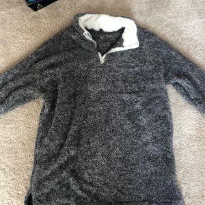 Grey furry quarter zip